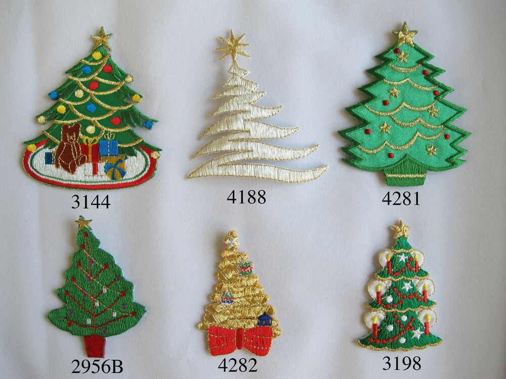 Golden,Silver,Green Christmas Tree Embroidery Iron On