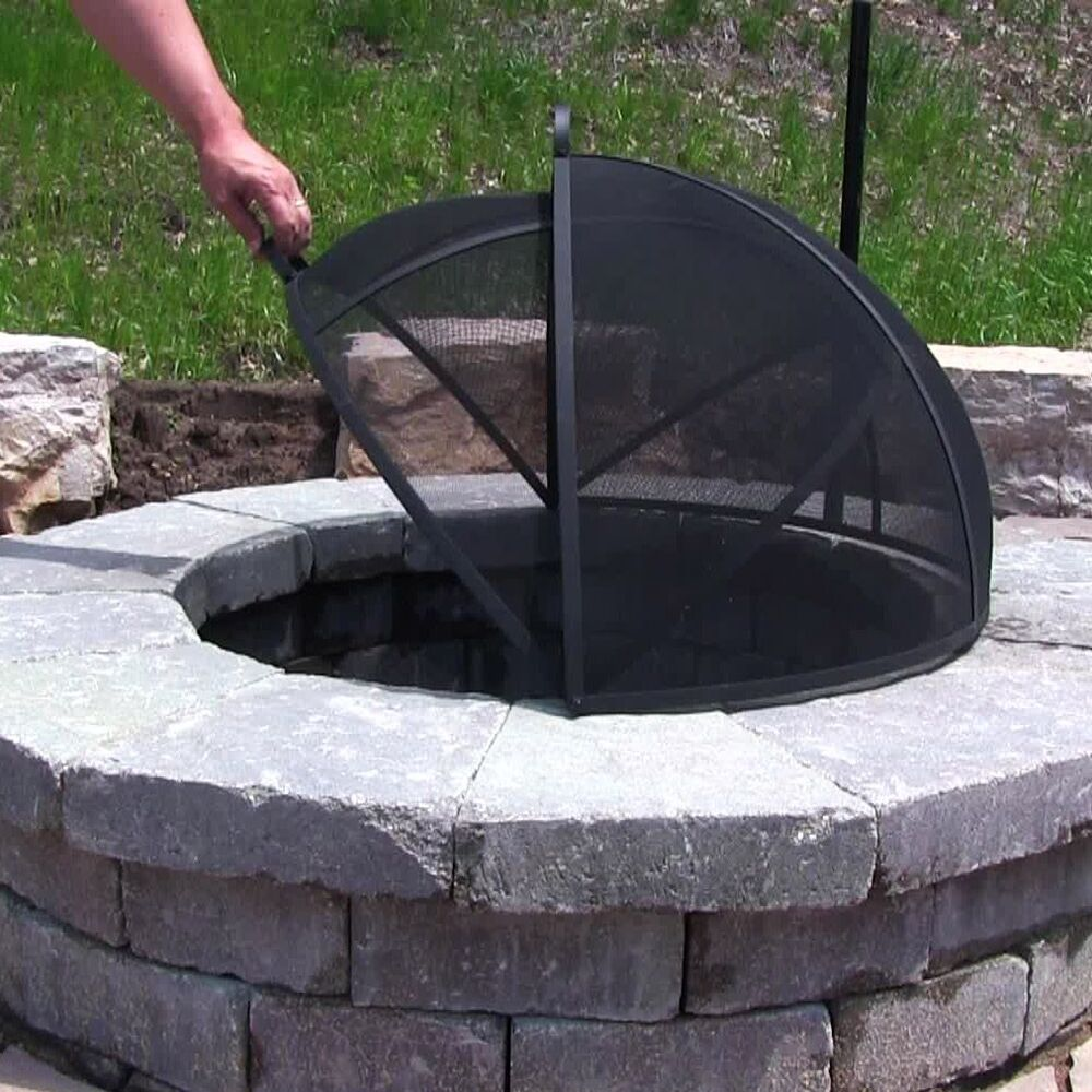 Patio Fire Pit Covers: Outdoor Fire Pit Cooking Grill Metal Fire Pit Screen Cover
