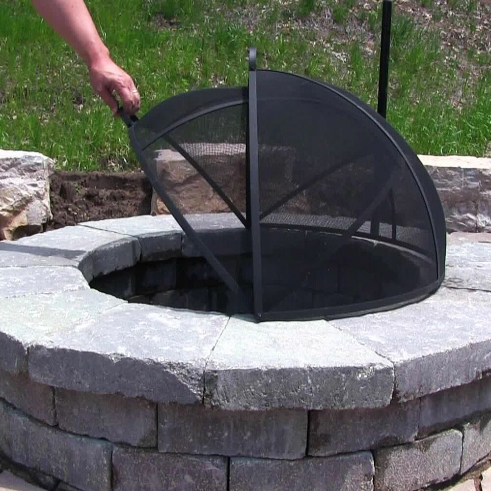 Outdoor fire pit cooking grill metal fire pit screen cover for Pare etincelle pour foyer exterieur