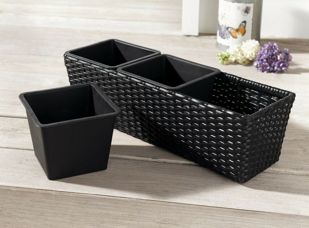 pflanz kasten blumenkasten pflanzk bel rattan balkonkasten schwarz blumentopf ebay. Black Bedroom Furniture Sets. Home Design Ideas