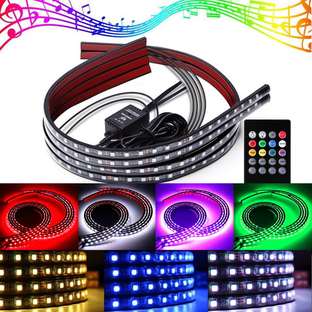 Multi Color 48 Amp 36 Quot 4x Flexible Strips Led Underglow Kit