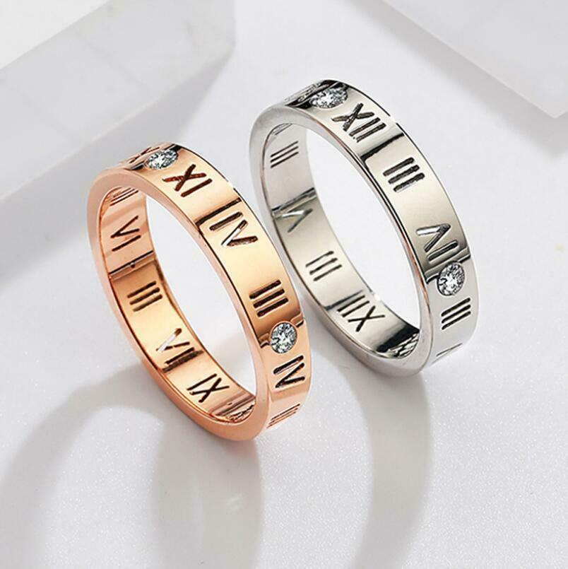 """Micro-inlay AAA CZ """"Roman Numerals"""" Silver/Rose Gold GP Engagement ..."""