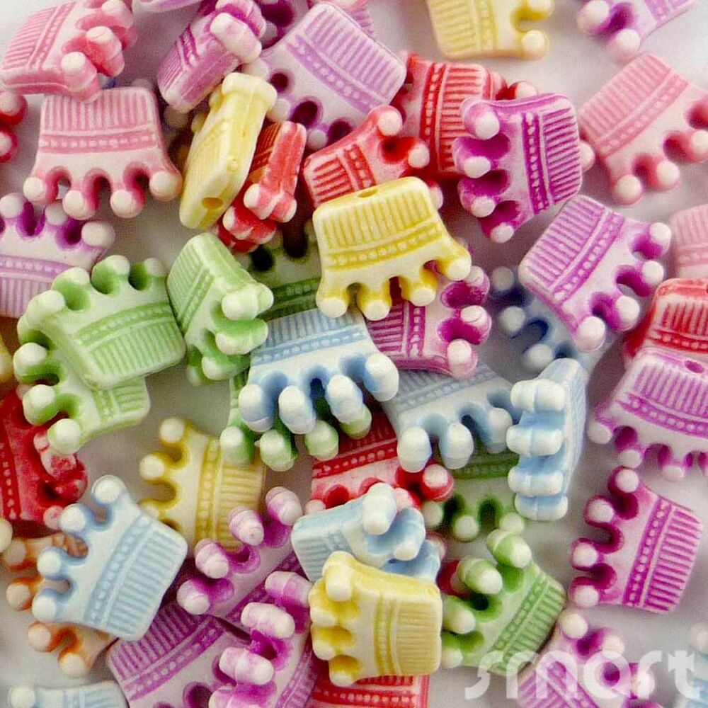 Kid Craft Beads: 20/100pcs Mixed Colors Plastic Crown Beads 12mm Craft/Kids