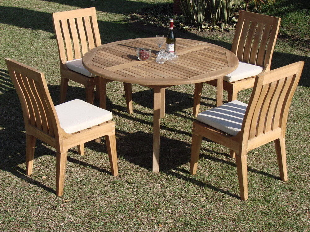 5 PC DINING TEAK SET GARDEN OUTDOOR PATIO FURNITURE