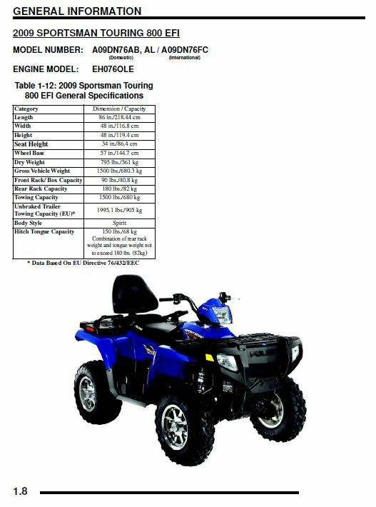 polaris 2009 atv sportsman 800 efi x2 touring service. Black Bedroom Furniture Sets. Home Design Ideas