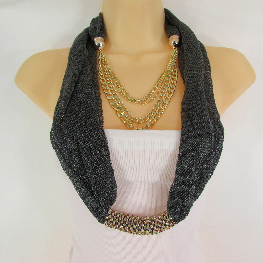 New Women Gunmetal Fabric Gold Metal Chains Fashion Scarf ...