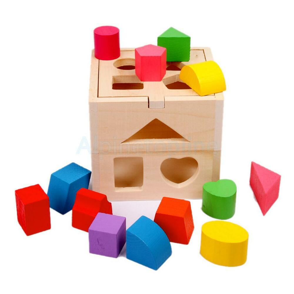 Early Learning Wooden Block Shape Sorting Box Children ...