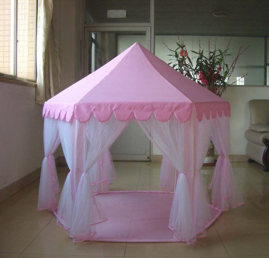 new child 39 s princess castle play tent kid 39 s pink girl with cary bag free ship ebay. Black Bedroom Furniture Sets. Home Design Ideas