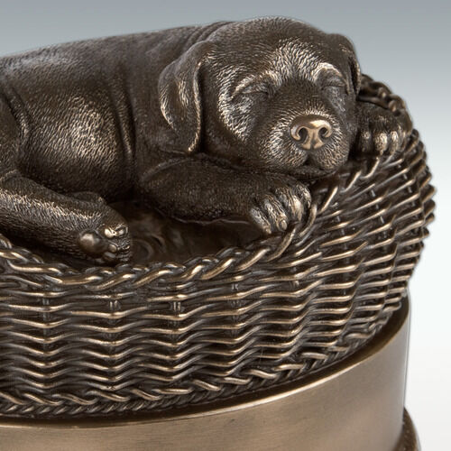 Small Dog In Basket Pet Cremation Urn Cold Cast Resin