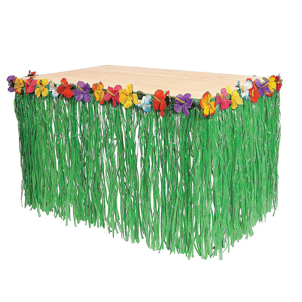 Hawaiian Grass Skirt Luau Pool Backyard Green Table Flower 9ft Party ...