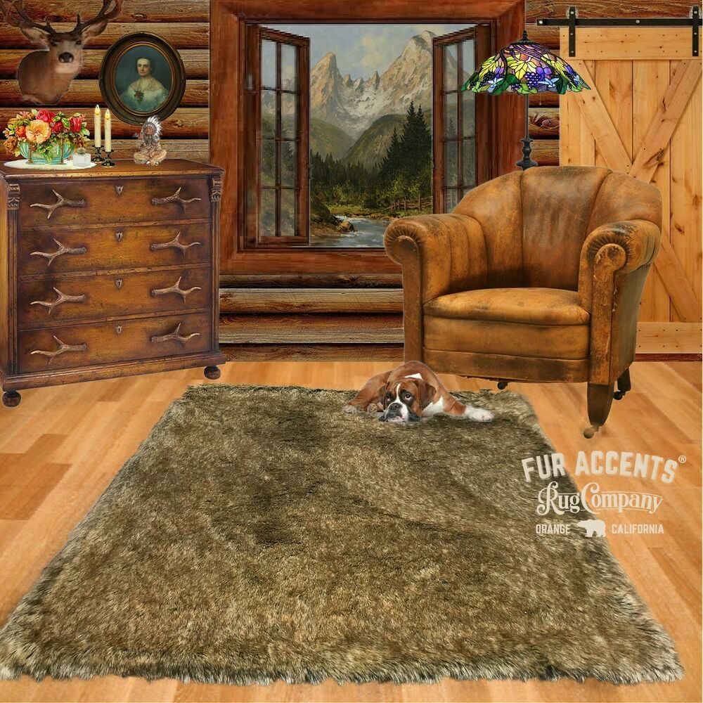 FUR ACCENTS Faux Fur Coyote Pelt Rug / Light Wolf Skin