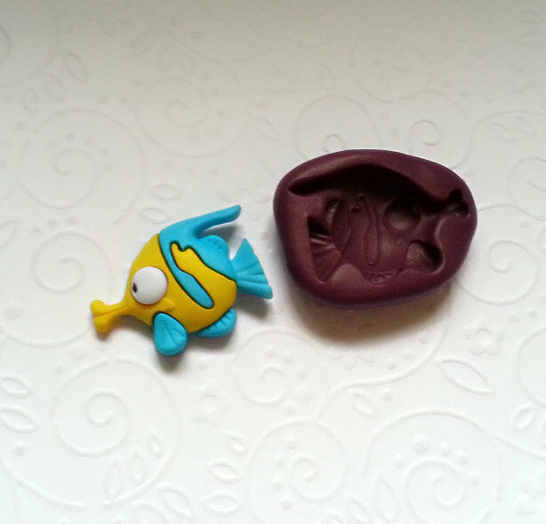 Silicone mold cute fish mould b 28mm fondant topper clay chocolate