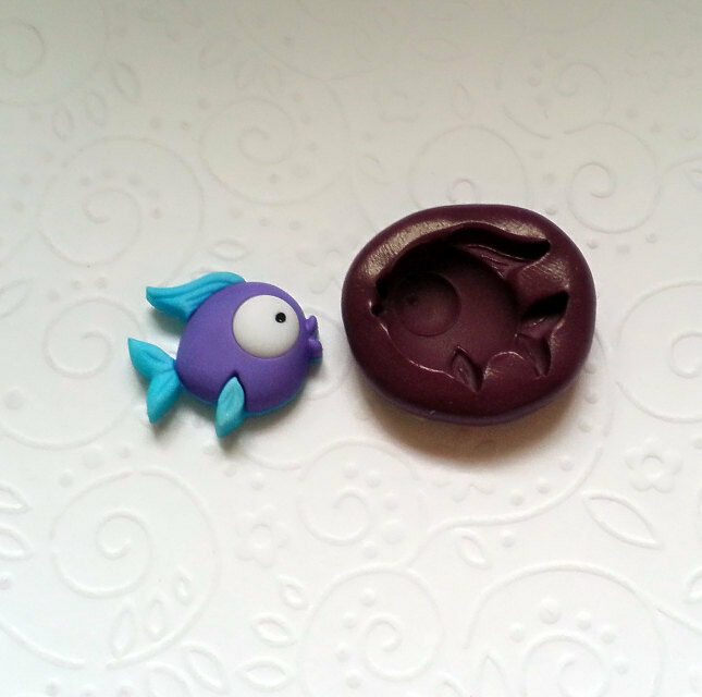 Silicone mold cute fish mould e 21mm fondant clay for Silicone fish molds