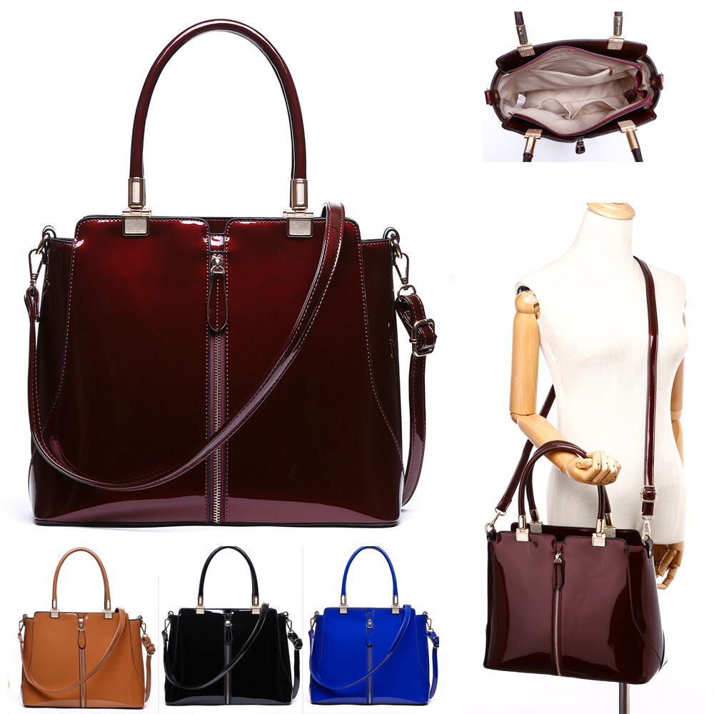 96689829d2f8 Details about Women s Patent Tote Bags Shoulder Bag Handbags For Women  School Work College Bag