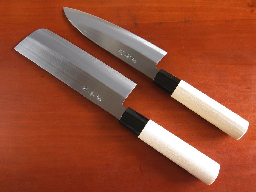 Japanese Kitchen Chef 39 S Knives Set Nakiri Santoku Carbon Steel Made In Japan Ebay