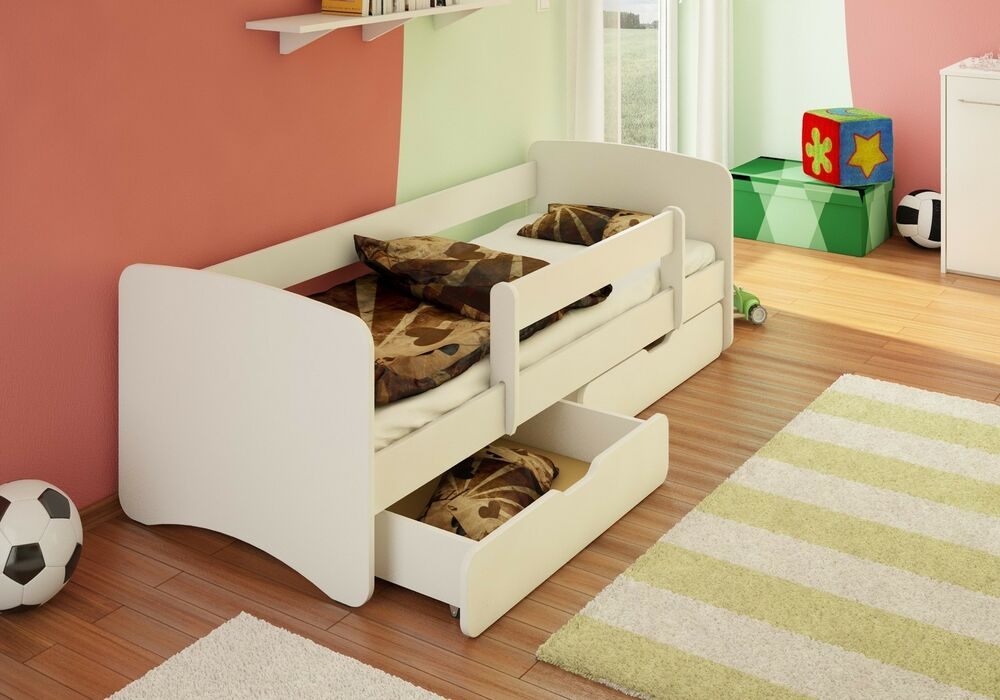 bfk best for kids kinderbett jugendbett wei weiss rausfallschutz schubladen ebay. Black Bedroom Furniture Sets. Home Design Ideas