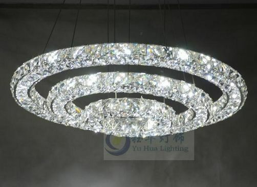 New Luxury Led Round 3sides Crystal Pendant Lamp 3 Rings