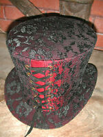 Steampunk madhatter Hand made red lace Top Hat