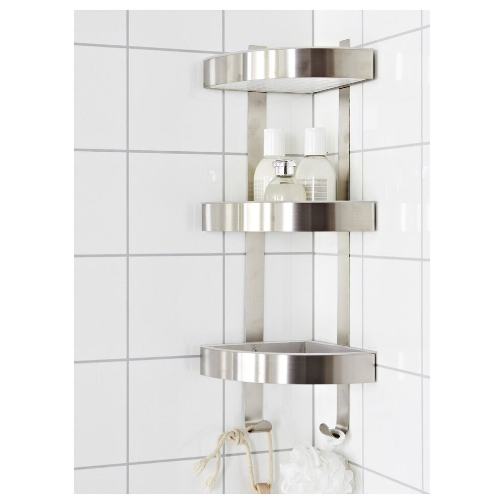 RUST RESISTANT STAINLESS STEEL 3 TIER BATHROOM CORNER WALL