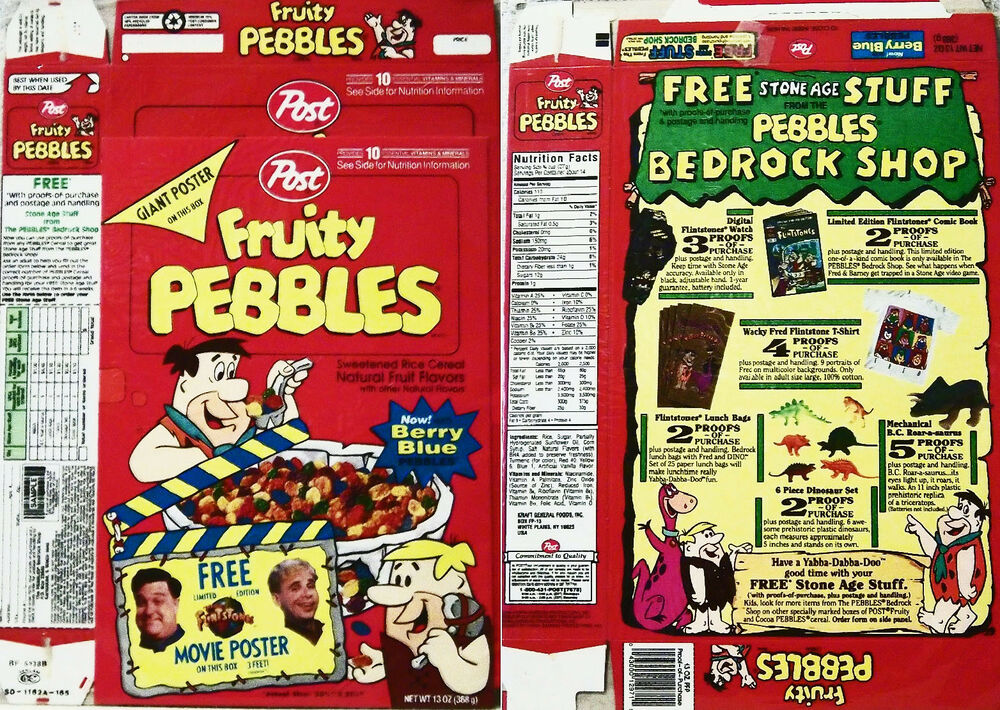 1994 Fruity Pebbles with Flintstones Movie Poster Cereal ...