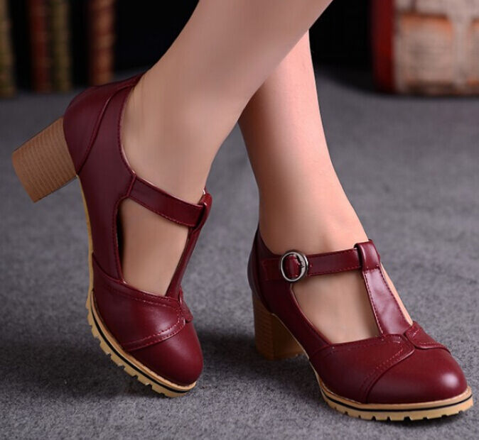 Womens Girls Cuban Heel Retro Vintage T-Strap Mary Jane ...