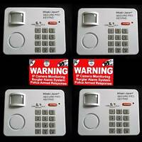 4 HOME PERSONAL SECURITY MOTION SENSING DETECTING ALARM KEYPADS+WARNING STICKERS