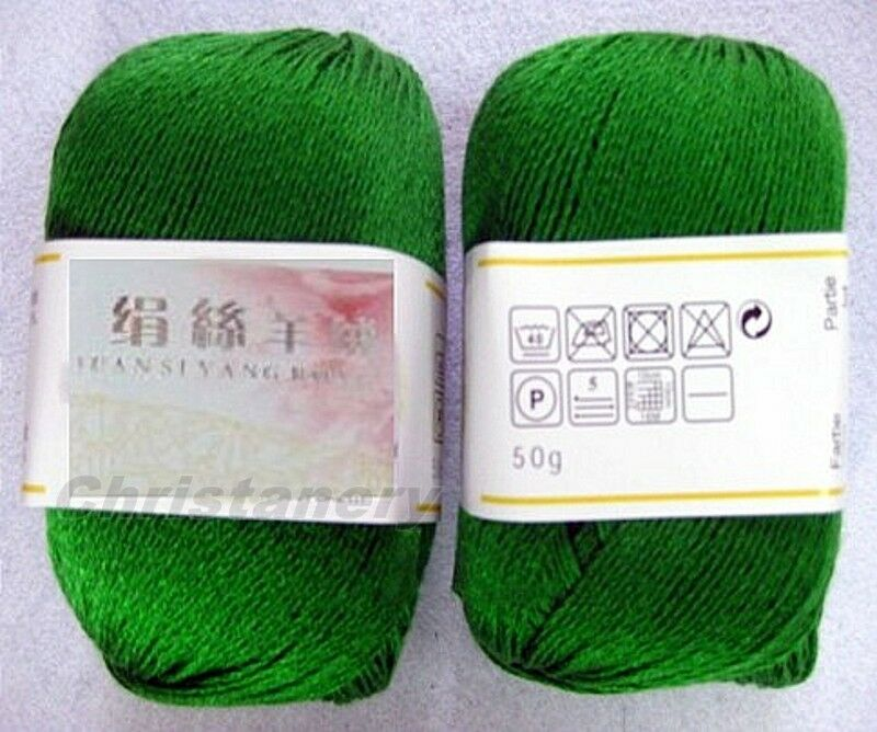 Lace Weight Yarn : Skeins Luxury 68% Silk 32% Cashmere Lace Weight Yarn Green eBay