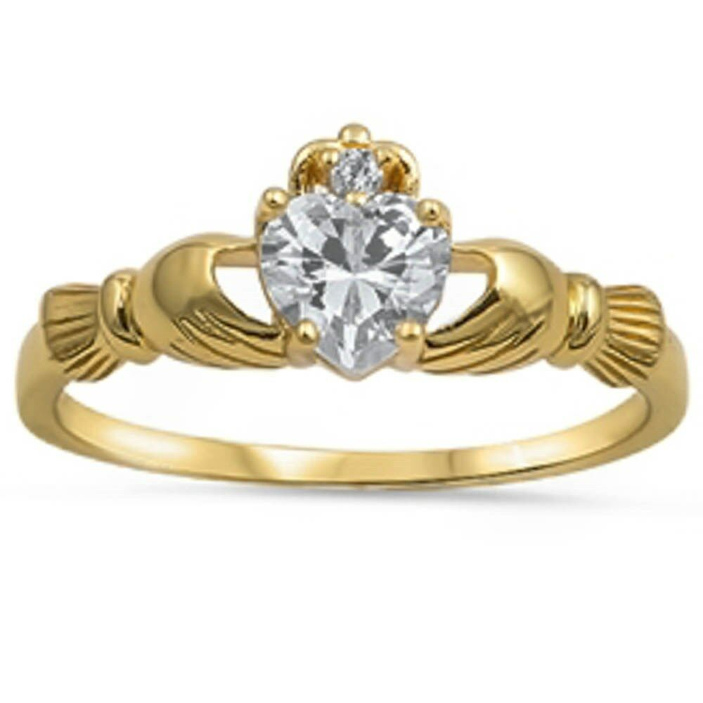 yellow gold plated claddagh cz 925 sterling