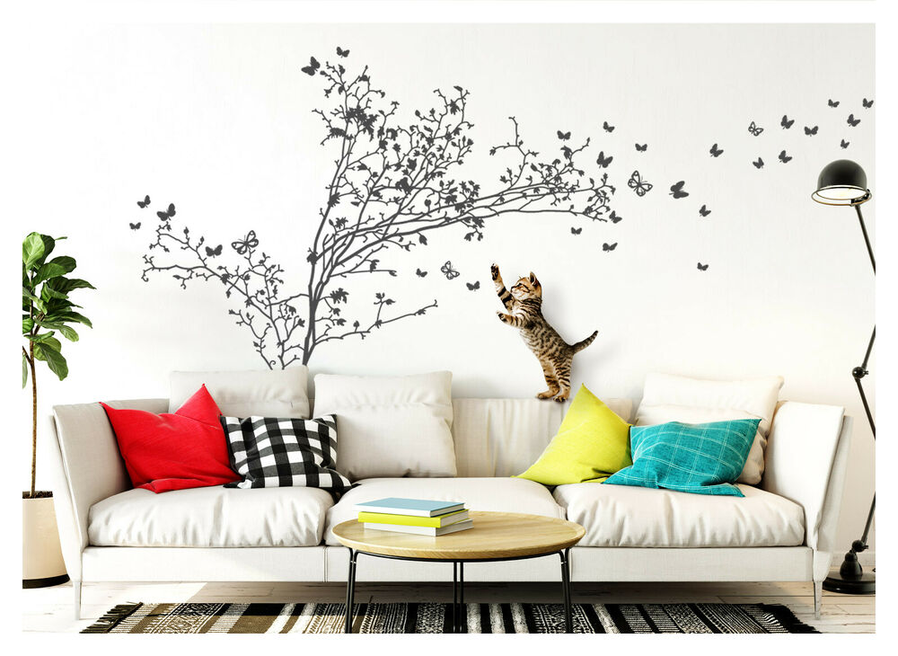 wandtattoo wandsticker wandaufkleber wohnzimmer baum zweige schmetterlinge w1250 ebay. Black Bedroom Furniture Sets. Home Design Ideas