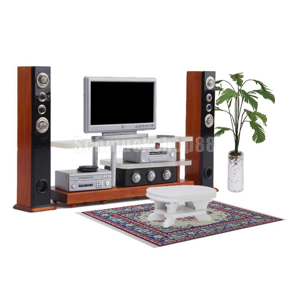 modern 1 12 puppenhaus miniatur m bel tv dvd surround sound set decor ebay. Black Bedroom Furniture Sets. Home Design Ideas