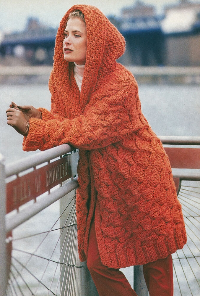 KNITTING PATTERN No 2017 LADYS CABLED HOODED JACKET COAT in Super Chunky...
