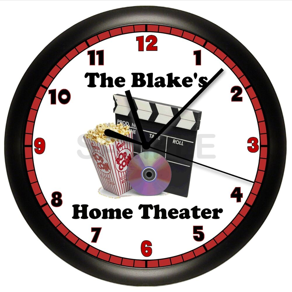 personalized movie night wall clock home theater room recreation house warming ebay. Black Bedroom Furniture Sets. Home Design Ideas