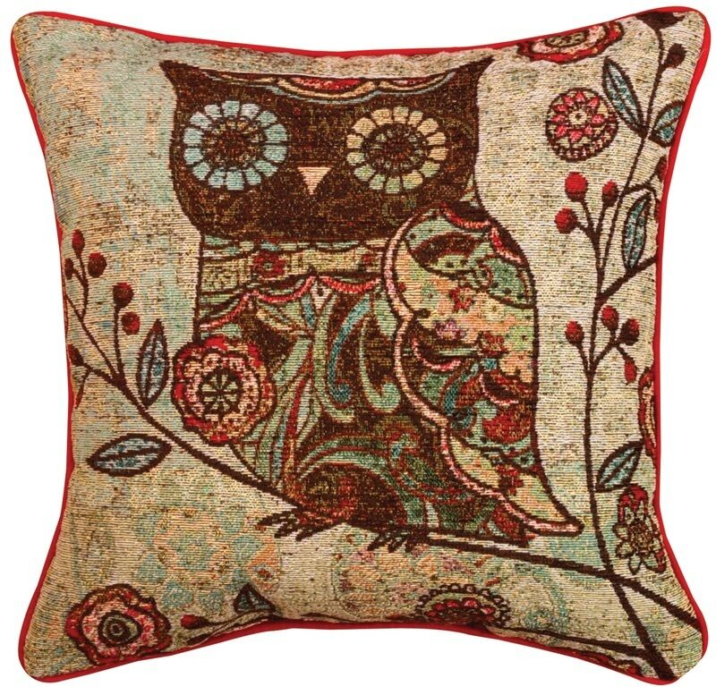 Decorative Tapestry Throw Pillows : 2-Milo Owl Floral Design Tapestry Accent Decor Throw Pillows by Wendy Bentley eBay