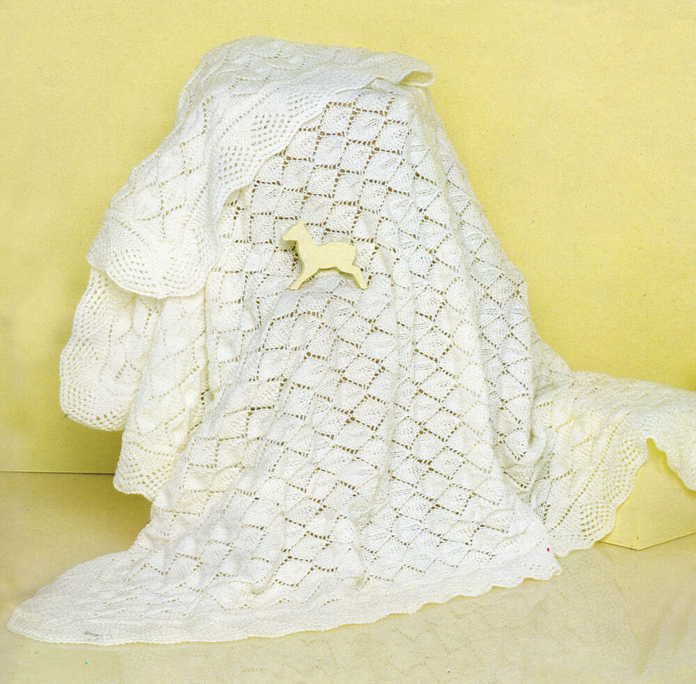 BABY KNITTING PATTERN 8213 LACY BABY BLANKET SHAWL in 4 ply size 47.5x47.5&...