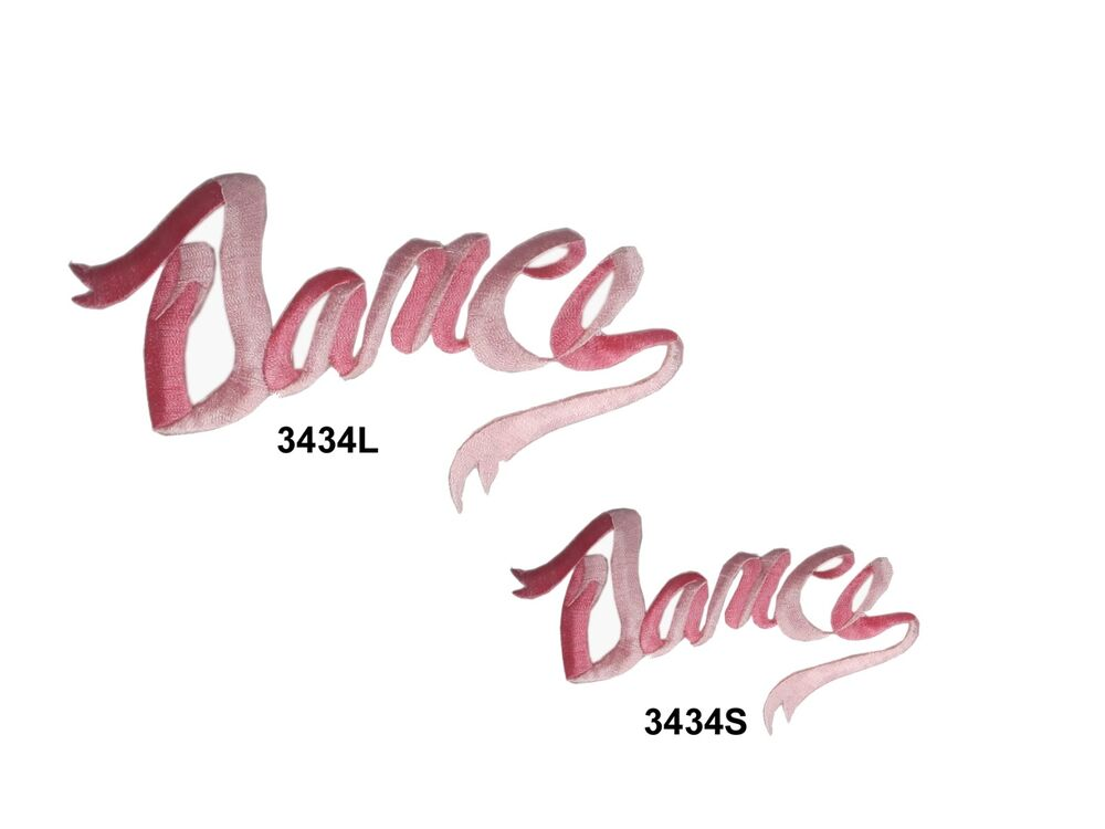 Pink dance word embroidery iron on applique patch ebay