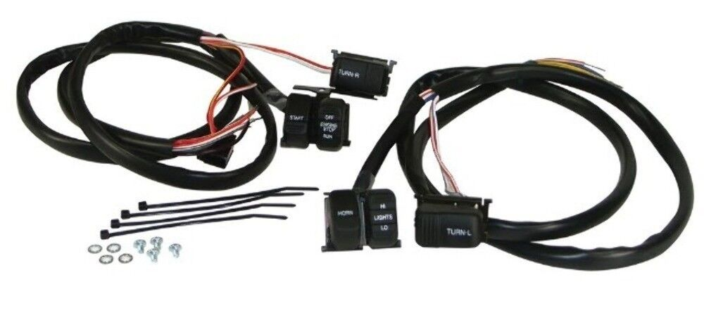 handlebar wiring harness with black switches for harley ebay