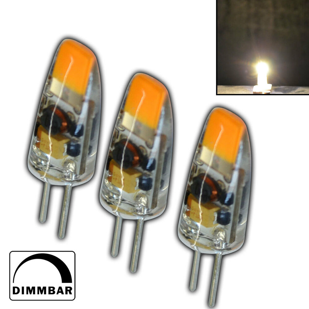 3x g4 cob led 1 5 watt 12v ac dc warmwei a leuchtmittel lampe birne dimmbar ebay. Black Bedroom Furniture Sets. Home Design Ideas