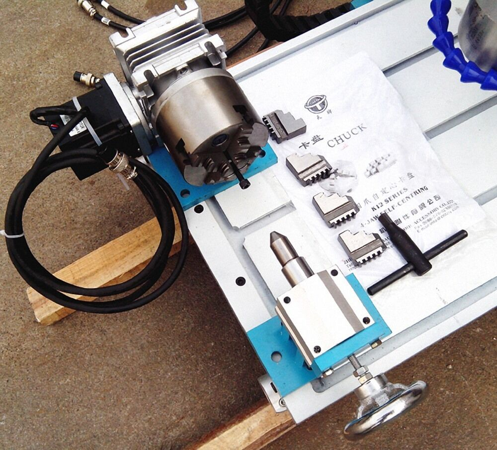 Cnc router rotary axis a 4th axis 4 jaw 80mm tailstock for Cnc rotary table with stepper motor
