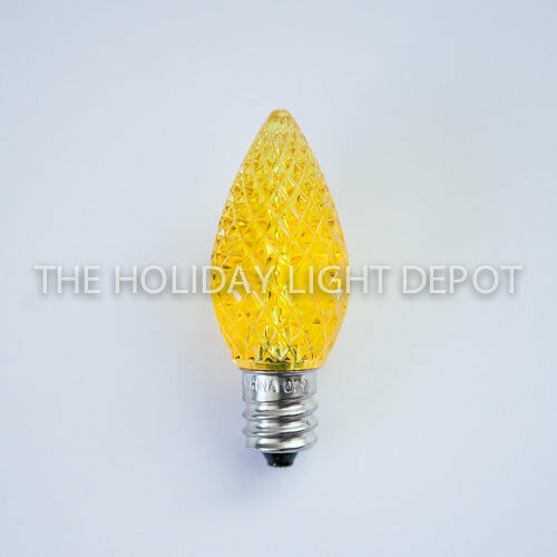 Box of 25 c7 yellow led christmas light bulb faceted led retro fit