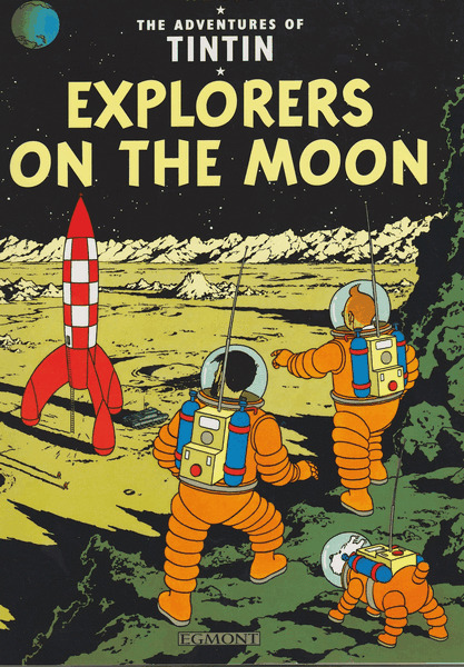 Vintage Book Cover Posters : Vintage tintin explorers on the moon book cover poster a