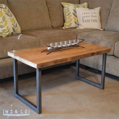 Reclaimed barn wood coffee table with metal legs for Wood top metal legs coffee table