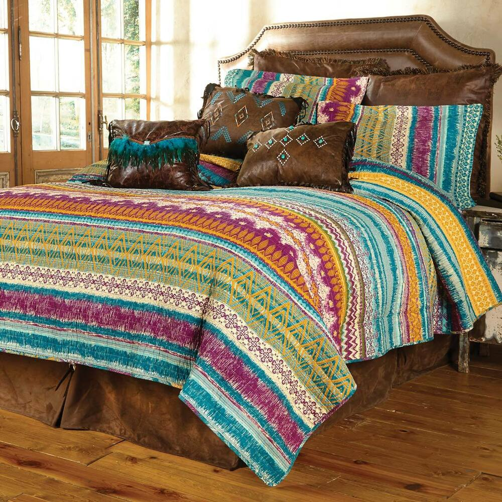 Southwest Lodge Full Queen Quilt Set Red Green