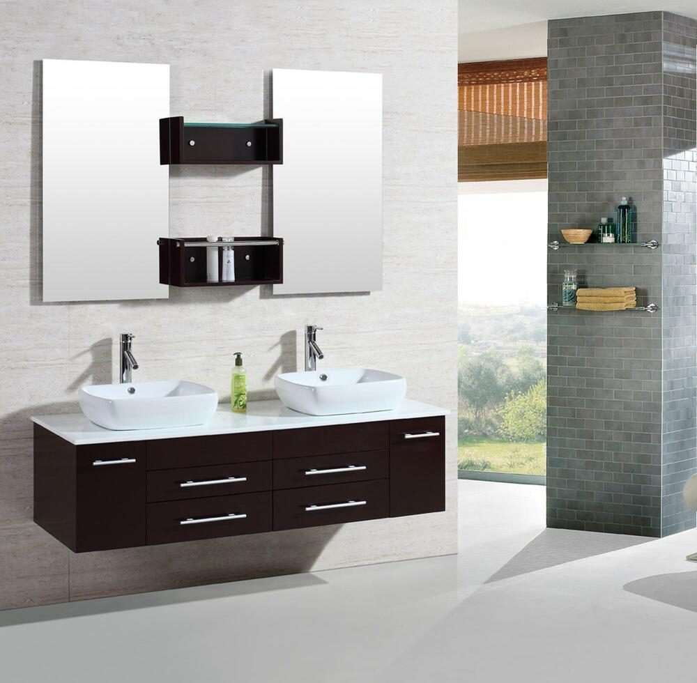 "60"" Modern Bathroom Double Vanities Cabinet Floating Vessel Sink W Marble Top 22"