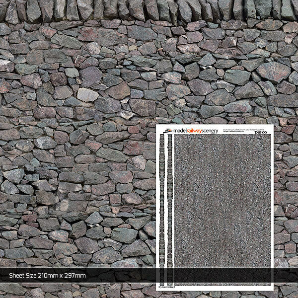2 x sheets dry stone wall wallpaper oo gauge 1 76 model for Wallpaper sheets for walls