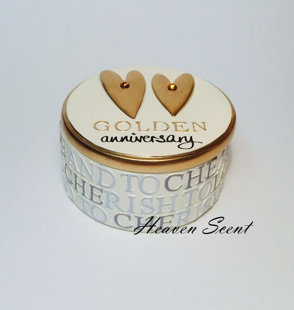 50th Wedding Anniversary Gifts Diy : 50th Golden Gold Wedding Anniversary Trinket Box Great Gift Present ...