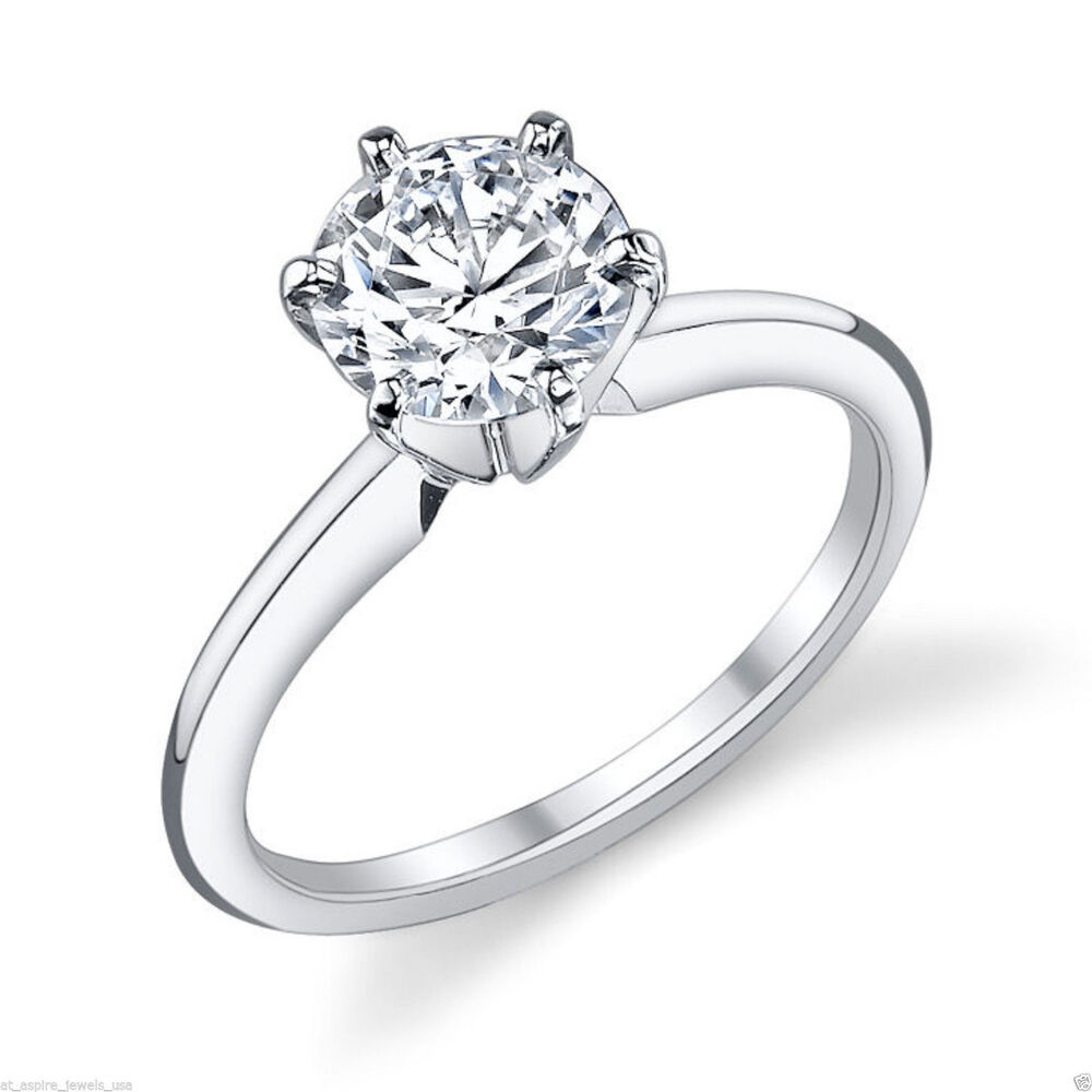 ct brilliant cut diamond solitaire engagement ring solid 14k white gold ebay. Black Bedroom Furniture Sets. Home Design Ideas