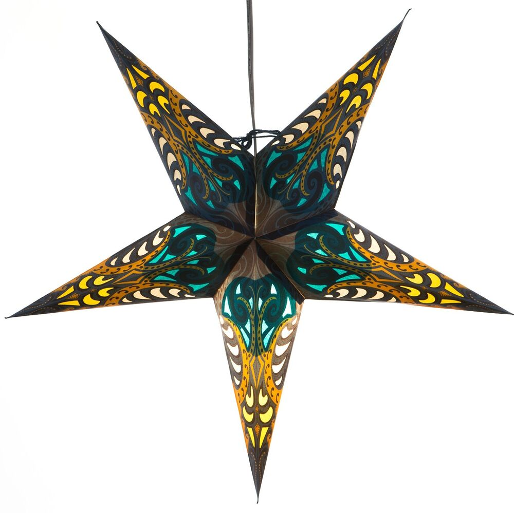 Blue obsession paper star light lamp lantern with 12 foot for Paper star lamp