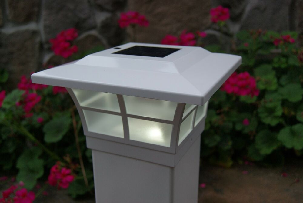 4x4 white prestige solar post cap led deck fence lights 4 pack ebay. Black Bedroom Furniture Sets. Home Design Ideas