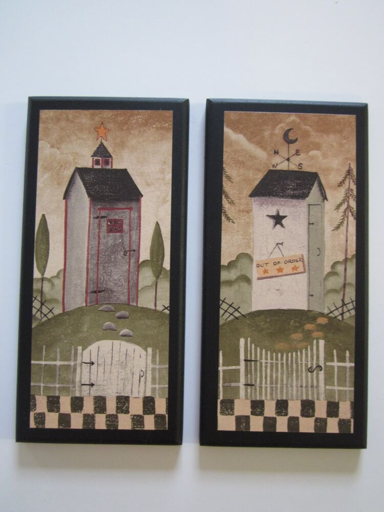 Outhouses 2 rustic lodge bath wall decor primitive country for Outhouse bathroom ideas