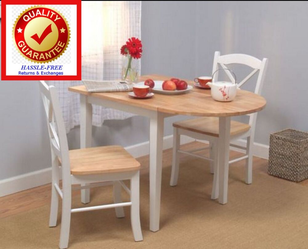 Country Dining Set 3 Piece White Drop Leaf Table And
